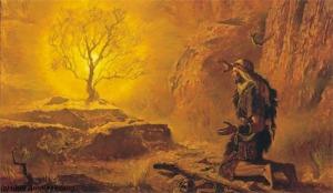 Moshéh rabeinu delante de la zarza ardiente