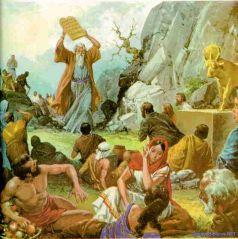 Mosháh rompe las tablas al ver el becerro de oro