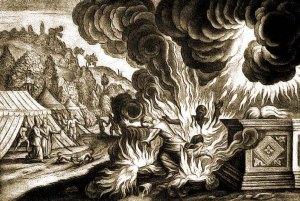 Los hijos de Aarón usan el fuego ajeno que causa su muerte