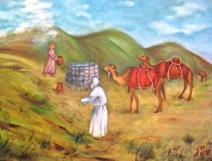 Ilustración de Eliezer y su encuentro con Rivká, al lado del pozo del agua