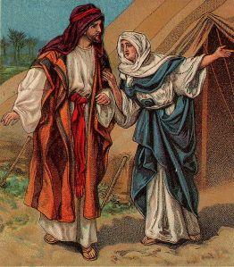 """Yaakóv y Rivká una imagen extraida de un """"Bible card"""", publicado el 1906, the Providence Lithograph Company"""